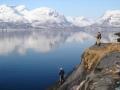 Rantakalastusta Lyngenin vuonossa Norjassa.